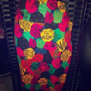 Luluroe Carly skirt retro patchwork print NWT